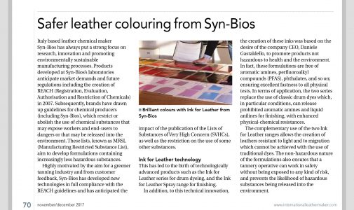 Safer leather colouring: INK FOR LEATHER SYSTEM